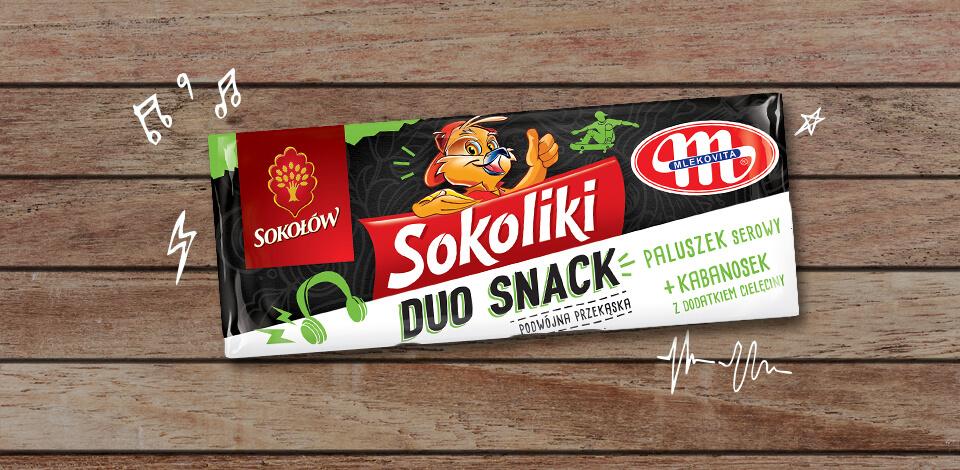 Sokoliki Duo Snack kabanos wieprzowy z dodatkiem cielęciny & paluszek serowy
